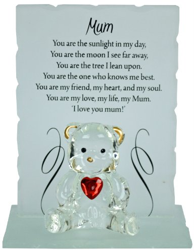 Bargains-galore Engraved glass crystal bear gift set poem poetic writing message (Mum)