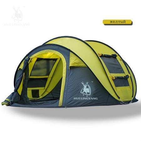 Mdsfe HUI LINGYANG Tent outdoor automatic Tents throwing pop up waterproof camping hiking tent waterproof large family tents-16-yellow,A2