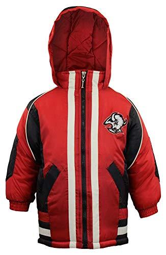 Mighty Mac Buffalo Sabres NHL Big Boys Youth Vintage Full Zip Hooded Jacket Coat, Black & Red (Medium 12-14)