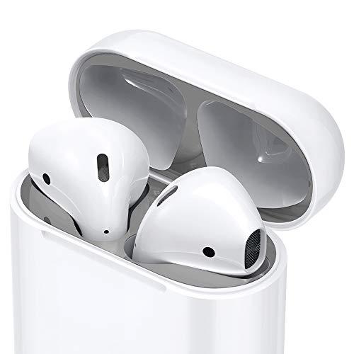 Spigen Shine Shield Diseñado para Apple Airpods [2 Juegos] Pegatina Antipolvo para Airpods 1&2 - Plata Metalizada