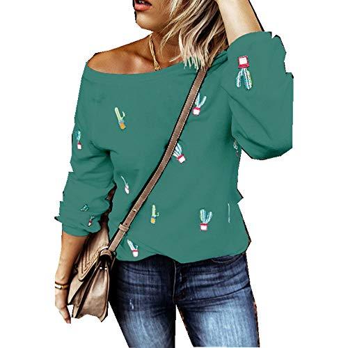 x8jdieu3 Sommer Rundhalsausschnitt Süßer Wind Frischer Süßer Druck Kaktus Langarm T-Shirt Damenhemd