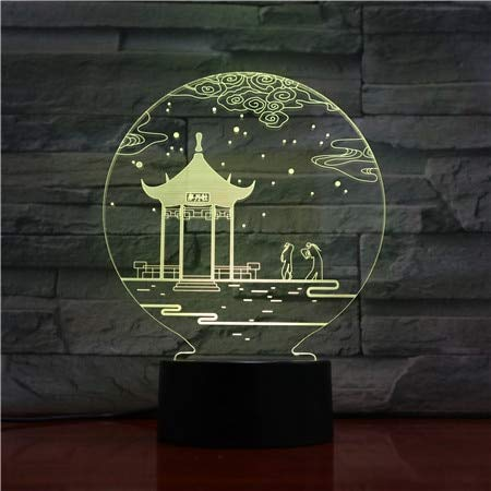 3D Table Lamp Chinese Culture Pavilion Color change Best Decoration Living Room Led Night Light Table Lamp