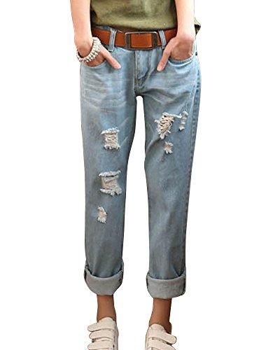 ZhuiKun Femme Boyfriend Jeans Loose Déchiré Trous Denim Pantalons Pants Bleu Clair 27