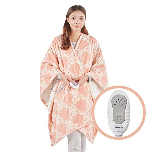 Degrees of Comfort Soft Sherpa Heated Shawl Wraps for Women, Adults Electric Poncho Blanket Throw 50 X 64 - Blush Lattice | 3 Therapeutic Heating Levels - 2hr Auto Shut Off | Lightweight | Washable