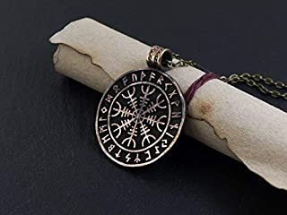 Ancient Aegishjalmur - The Helm of Awe Viking Norse Protection Pendant With Runes