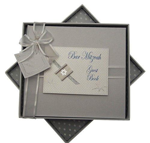 White Cotton Cards Bar Mitzwa Gästebuch, jüdisches Geschenk (Jungen)