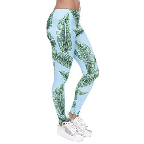 YJKGPZQLZ Yoga Hosen Leggings Printed Tropical Jungle Leaves Print Damen Leggings Fitness Atmungsaktiv Schweiß Schnell trocknend Leggins...