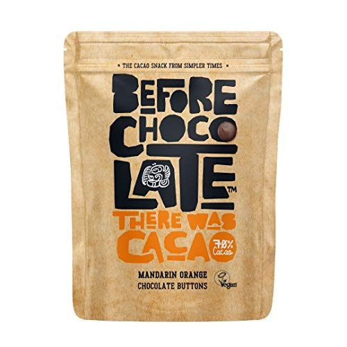 Before Chocolate - Organic Vegan 70% Dark Chocolate Mandarin Orange Buttons 110g - Dairy, Gluten, Nut & SOYA Free, for Snacking, Baking, Desserts & Breakfasts