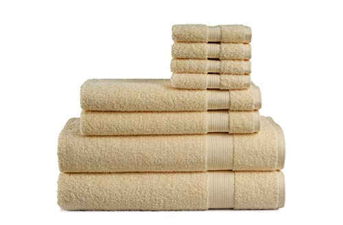 Cotton Cozy Indulgence 600 GSM Luxury 8-Piece Towel Set: 2 Bath Towels, 2 Hand Towels and 4 Washcloths, 100% Cotton, Amercian Construction, Soft, Highly Absorbent, Machine Washable, Beige