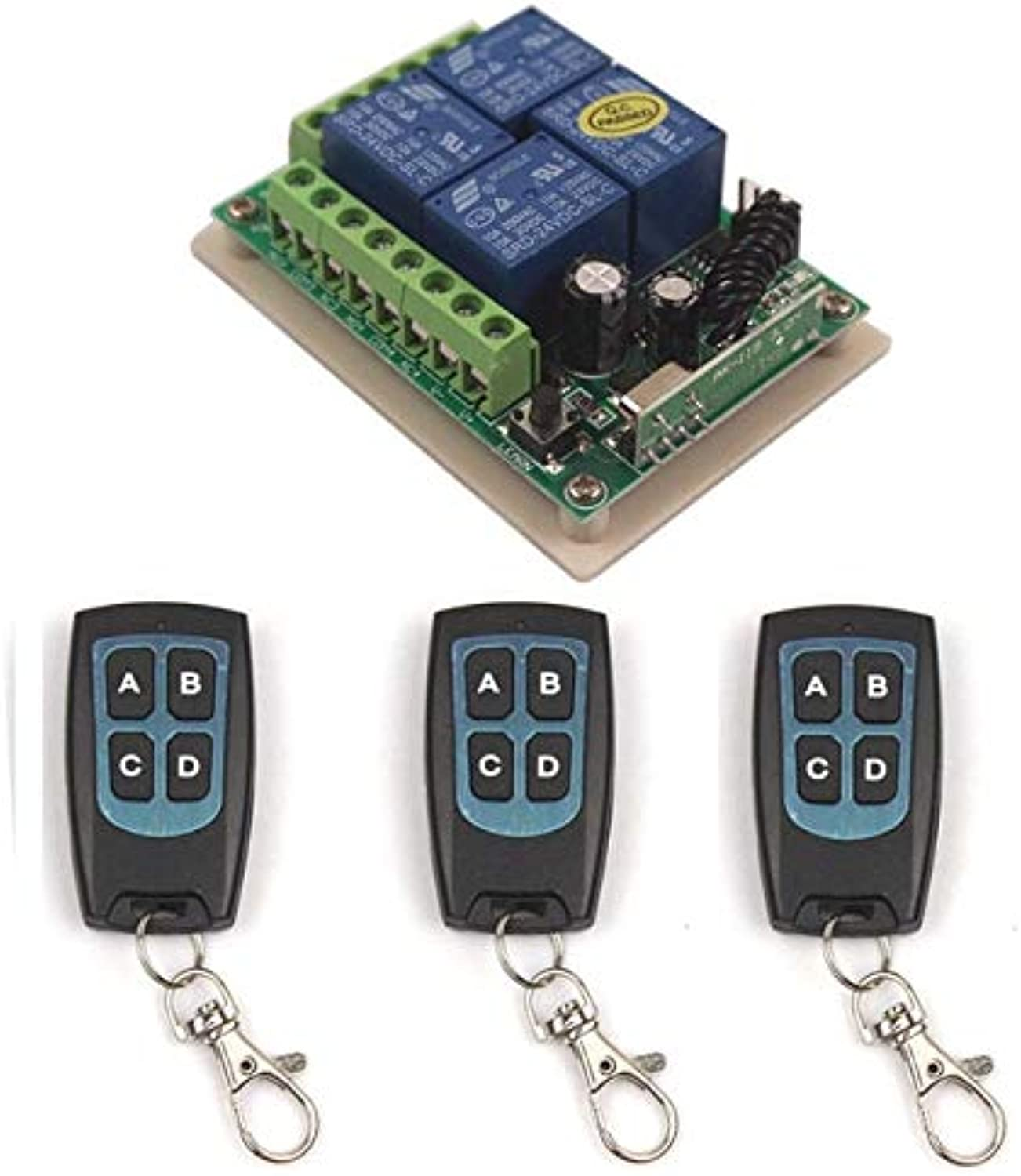 Sleeplion 24V 4CH Remote Control Switch 315 433MHz Multi Remote Switch 24V 4CH Waterproof Transmitter Receiver Module Board(color  3X Control 433MHz)