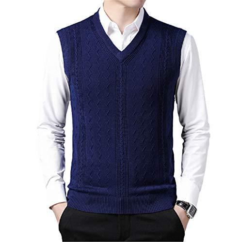 Męska kamizelka z okrągłym dekoltem w kształcie litery V, sweter z krótkim rękawem o prostym kroju, lekki bez rękawów,4,L