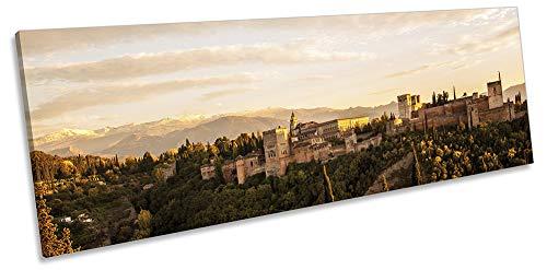 Canvas Geeks Cuadro de Lienzo de Alhambra Granada España Color Beige para Pared con Marco panorámico, 120cm Wide x 40cm High