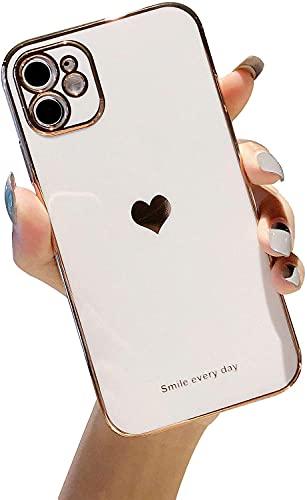 Estuche con patrón de corazón Compatible con iPhone 12/12 Pro Estuche para teléfono con protector de lente de cámara Borde de revestimiento de TPU suave Carcasa trasera ultrafina a prueba de golpes