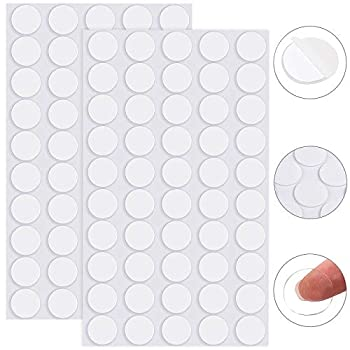 ADXCO 100 Pieces Removable Sticky Adhesive Putty Clear Sticky Putty Double-Sided Putty Round Nano Gel Transparent Putty for Christmas Wall Metal Glass Diameter 25 mm