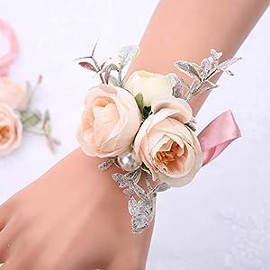 Silk Flower Arrangements SERRAFLORA Wristlet Corsage,Bridesmaid Bouquet,Wedding Wrist Flowers,Bridal Bouquet,Artificial Flower Bouquet,Silk Flower Supplies,Flower Decor,Wedding Flowers(13# 6pcs)