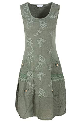 PEKIVESSA Leinenkleid Damen mit Stickerei Sommer Knielang Ver2-Olivgrün 42 (Herstellergröße XL)