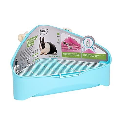 SMELL & SMILE Arenero de plástico de Conejo para Mascotas Entrenador de Orinal fácil de Limpiar esquineras Conejos Color Aleatorio (SOY0089)