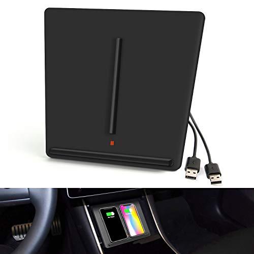 EEIEER Dual Wireless Phone Charger für Car Tesla Model 3, Qi Kabelloses Ladepad 10W Induktions ladegerät Schnellladungen, Kompatibel mit iPhone XS Max/XR/XS/X/8 Plus Samsung Galaxy S9 usw