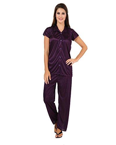 Fashigo Women's Solid Satin Top & Pyjama Set (Free Size) Purple