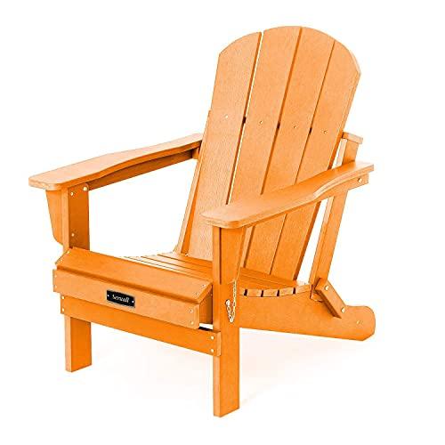 Folding Adirondack Chair Patio Chair Lawn Chairs Outdoor Chairs Adirondack Chairs Weather Resistant for Patio Deck Garden, Backyard Deck, Fire Pit & Lawn Furniture - Orange