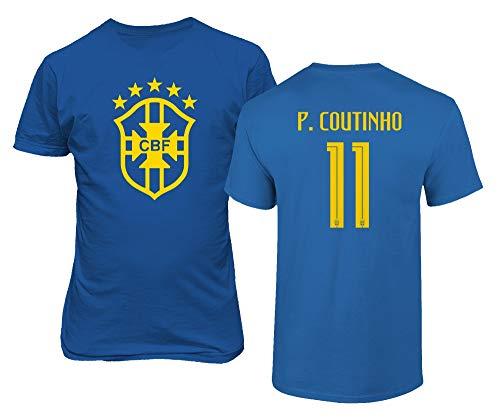 BTA Apparel Brasilien Fußball #11 Philippe Coutinho Jersey Stil Herren T-Shirt (Königsblau, XL)