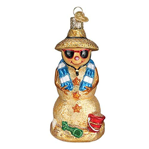 Old World Christmas Glass Blown Ornament with S-Hook and Gift Box, Holiday Collection (Sand Snowman, 24188)