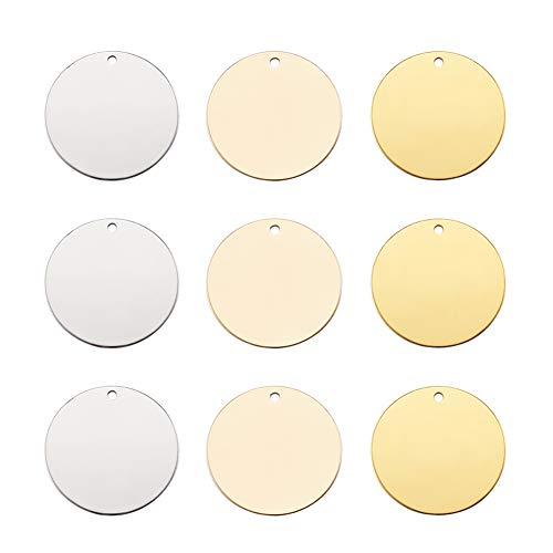 Cheriswely, 24 ciondoli in ottone con targhetta piatta da 20 mm, colore platino/oro chiaro/oro dorato per la creazione di gioielli, bracciali, orecchini, ciondoli pendenti per animali domestici