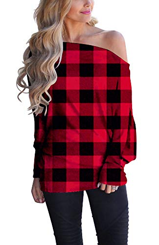 Womens Off The Shoulder Oversized Sweater Batwing Long Sleeve Sexy Plaid Shirt Tops Red 2X-Large