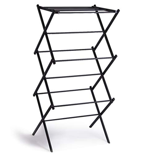BINO 3Tier Collapsing Foldable Laundry Drying Rack Black