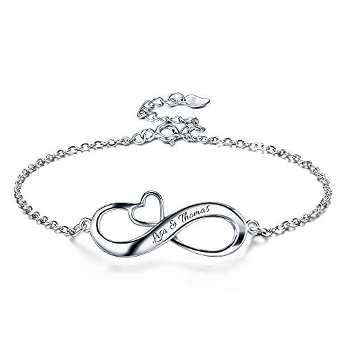Bo&Pao Infintiy Herz Armband Damen/Mädchen mit Gravur Sterling Silber 925, Silber Armkettchen mit Unendlichkeitszeichen
