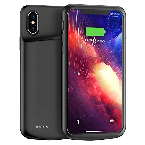 Upgraded Lonlif iPhone X/XS/10 Battery Case, 4000mAh Ultra Slim Portable Charging Case Rechargeable Protective Charger Case, Extended Battery Pack Compatible with iPhone X/XS/10 (Black)