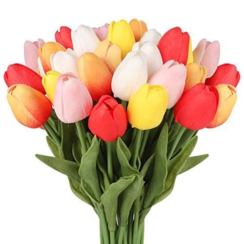 InnoGear Artificial Flowers, 30 Pcs Multicolor Faux Tulips Real Touch Tulip for DIY Wedding Bouquets Centerpieces Bridal Shower Party Home Flower Arrangement Decorations