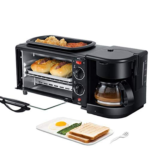 Frühstücksmaschine, Backofen Zu Hause, Brot Pizzaofen Bratpfanne, Multifunktionskaffee Omelett Brot Pizza Maschine, Brotmaschine Sandwich Maker (schwarz)