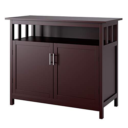 Homfa Kommode Sideboard Küchenschrank Fernsehschrank Küchenmöbel Schrank Anricht mit 2 türen Dunkelbraun 98 x 44 x 80cm