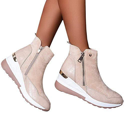 DaYee Comfy - Elegante Orthopädische & Extrem Weiche Schuhe Damen Casual Winter Warm Stiefeletten Damen Mid Heel Reißverschluss Keilschuhe Gr.
