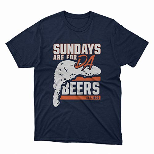 INKpressionists Chicago Football Fans - Sundays are for Da Beers Est. 1920 - Vintage Style Classic Dri-Power T-Shirt (Navy Blue, XL)