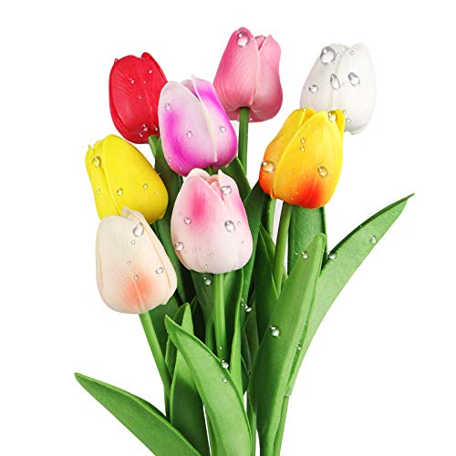SMALUCK Artificial Tulips Flowers Fake Flowers Latex Tulips Real Touch for Party Home Wedding...