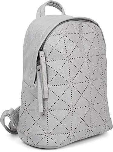 styleBREAKER Damen Rucksack Handtasche mit geometrischen Cutouts, Reißverschluss, Tasche 02012293, Farbe:Hellgrau