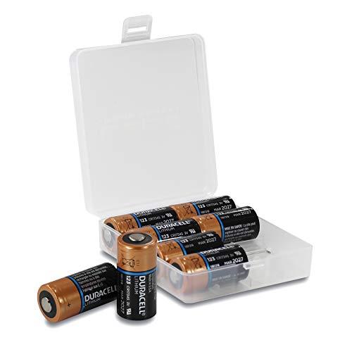 Duracell - Pilas de Litio CR123A (8 Unidades, 3 V, batería Duracell Ultra Lithium CR123A), en una práctica Caja para Pilas de Weiss - More Power +