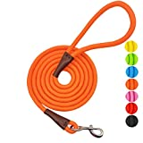 MayPaw 4FT/6FT/8FT/10FT Dog Leash, Classic Solid Colors, Durable Mountain Climbing Rope Dog Leash Reinforced with Leather Tailor Connection Heavy Duty Silver Clasp, 10 Foot Orange Leash