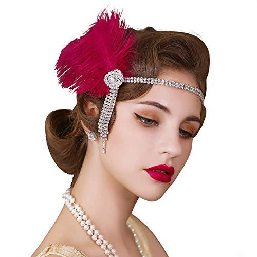SWEETV Flapper Diademas para mujer de los años 20 Gran Gatsby, diadema de plumas inspirada en Gatsby, accesorio para el pelo para mujer, color rojo