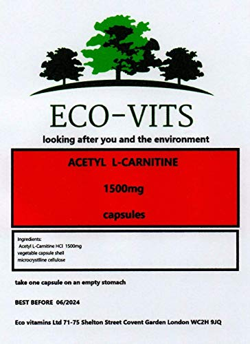 ECO-VITS Acetyl L-CARNITINE (1500MG) 365 CAPS. Biodegradable Packaging. Sealed Pouch