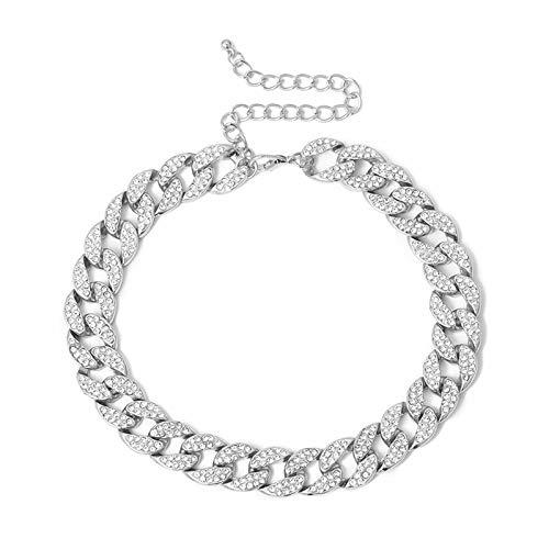 Ingemark Shiny CZ Rhinestone Curb Cuban Link Chain Choker for Women Unisex Cool Hip Hop Miami Cuban Diamond-Cut Chain Choker Necklace (S1 Silver Plus Size--14 +4 )