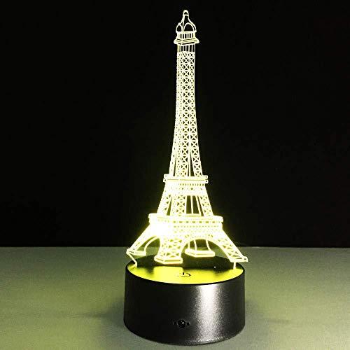 3D Slideshowromantische Eiffeltoren Frans nachtlampje LED 3D RGB verscheidenheid humor decoratie usb lichten voor eettafels kinderen vrienden geschenken