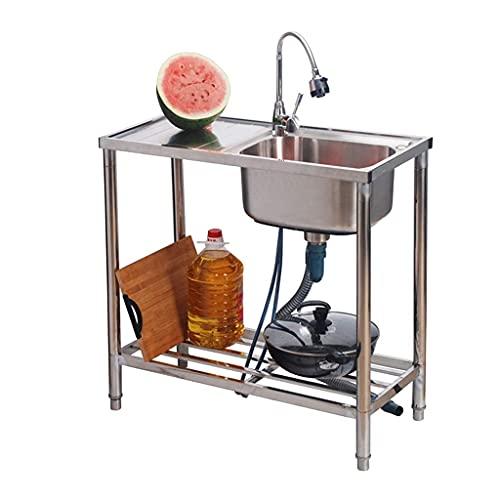 DGHJK Fregadero de Catering, fregaderos de Cocina domésticos de Acero Inoxidable, fregaderos de un Tanque con Consolas y grifos, utilizados en Bares, cocinas y restaurantes