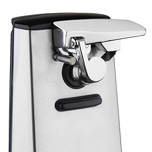 Hamilton Beach Electric Automatic Can Opener with Knife Sharpener, Easy-Clean Detachable Cutting Lever, Cord Storage, Brushed Stainless Steel (76700)