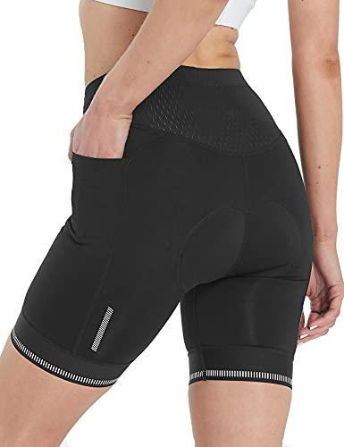 FitsT4 - Pantaloni corti da ciclismo da donna, con imbottitura 4D, per ciclismo, mountain bike, traspiranti, con tasche, Nero , XL corto
