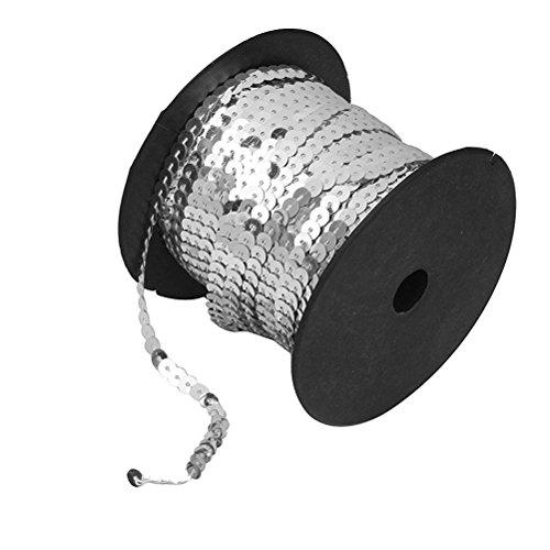 rosenice Paillettenband 6mm breit 90 Meter lang für DIY Handwerk Basteln (Silber)