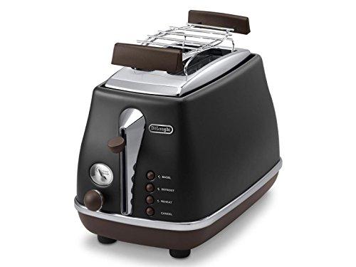 De'Longhi Toaster Icona Vintage CTOV2103.BK - 2-Schlitz-Toaster mit Brötchenaufsatz, Edelstahl in elegantem Retro Look mit Chrom-Details, schwarz (Generalüberholt)