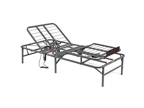 PragmaBed Pragmatic Adjustable Bed Frame, Head and Foot, Twin, Gray
